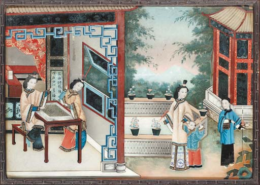 A Chinese reverse glass painti