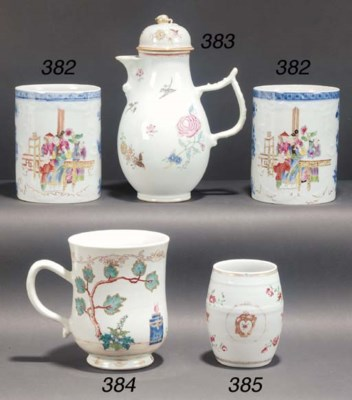A famille rose export tankard