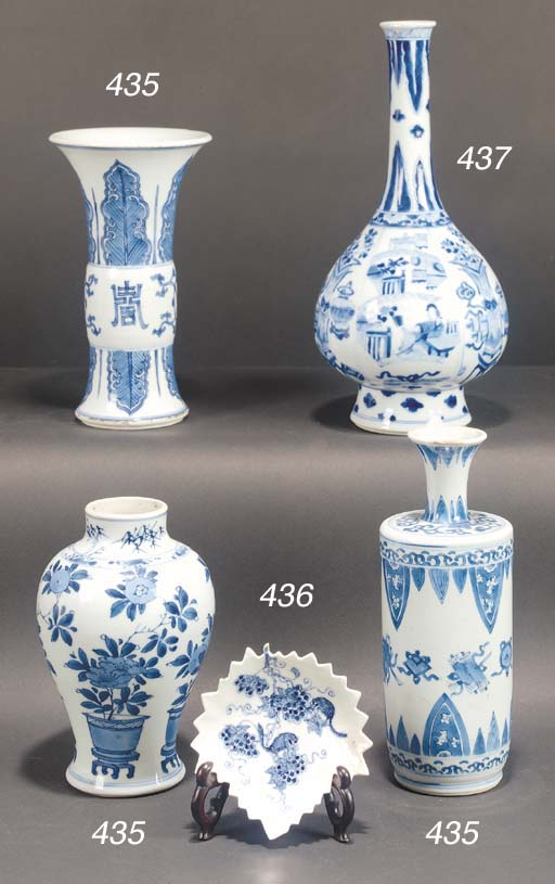 A Chinese blue and white gu va