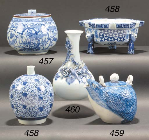 A Japanese blue and white vase