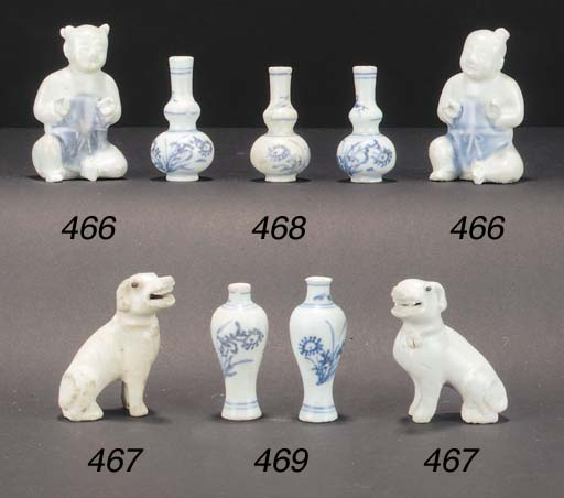 Ten Chinese blue and white min