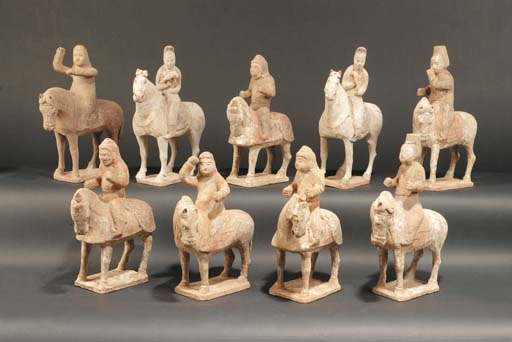 Seven Tang pottery equestrian