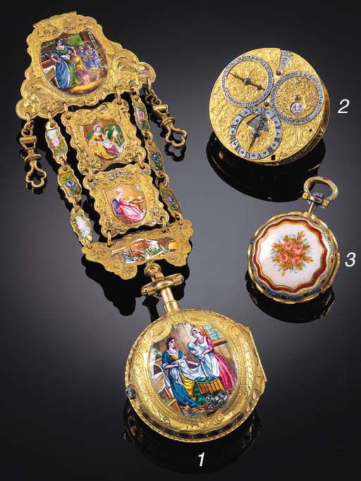 AN 18ct. GOLD AND ENAMEL PAIR CASED VERGE POCKET WATCH Markwick Markham Borrell, London, for the Turkish market, 1815.