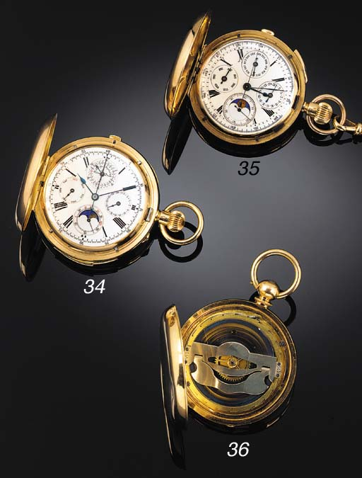 AN 18ct. GOLD QUARTER REPEATING TRIPLE CALENDAR, MOONPHASE AND CHRONOGRAPH HUNTING CASED KEYLESS LEVER POCKET WATCH Swiss, circa 1910.