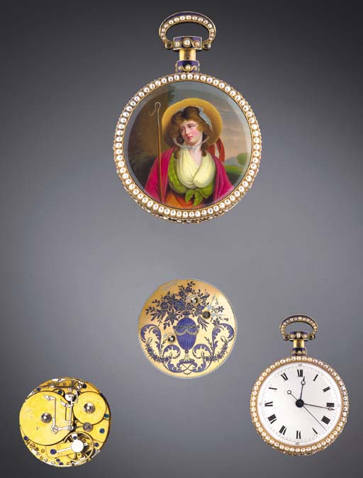 A FINE GOLD, ENAMEL AND PEARL