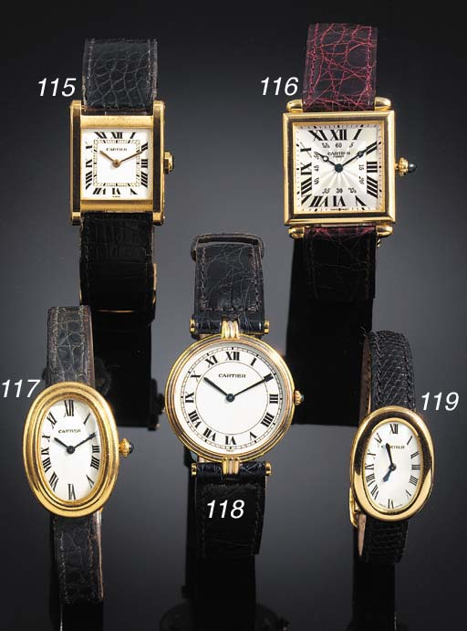CARTIER, A LADY'S GOLD WRISTWA