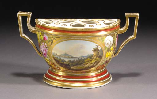 A Derby two-handled bough pot
