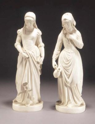 A pair of Copeland Parian figu