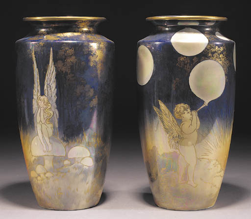 A pair of Shelley lustre vases