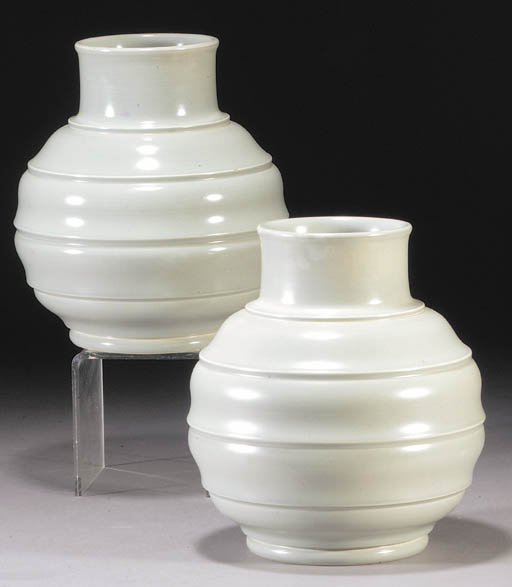 A pair of Wedgwood ribbed vase