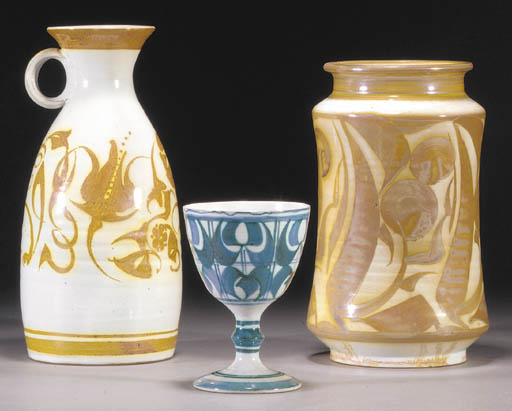 Six Aldermaston Pottery lustre