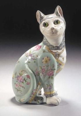 A GALLÉ POLYCHROME FAIENCE CAT