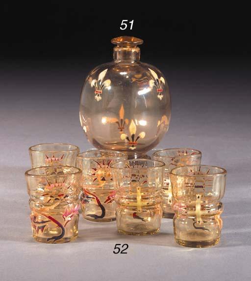 SIX GALLÉ ENAMELLED GLASSES