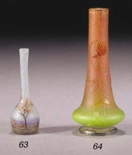 A DAUM ENAMELLED GLASS VASE