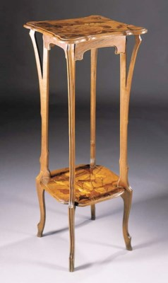 A FRUITWOOD MARQUETRY STAND BY