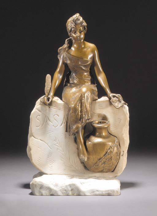 'L'HISTOIRE' A PATINATED BRONZ