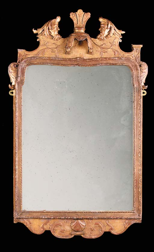 A GILTWOOD AND GESSO MIRROR, E