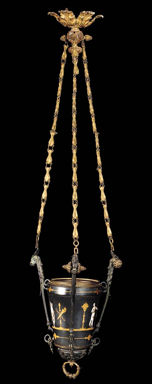 A French gilt bronze hanging l