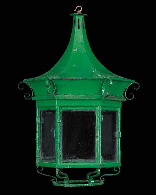 A copper hexagonal hall lanter