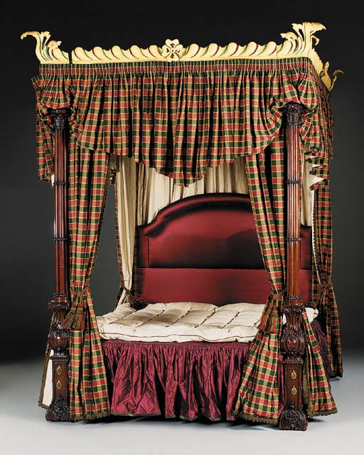 A CARVED MAHOGANY FOUR POSTER