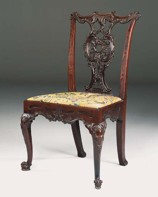 A MAHOGANY SIDE CHAIR , SECOND