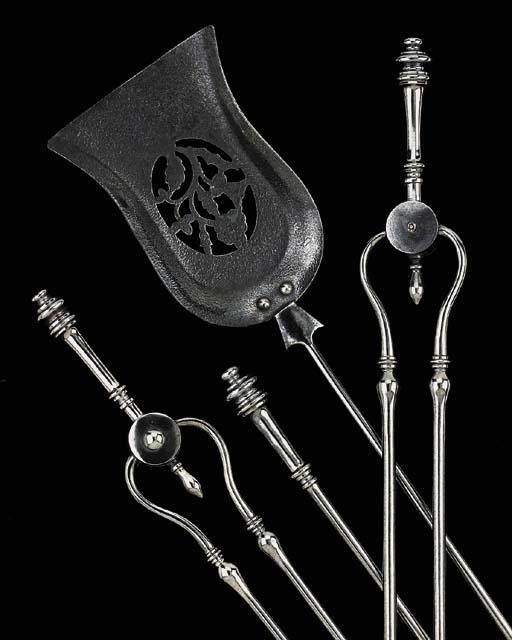 A set of four polished steel f