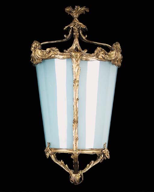 A gilt bronze hall lantern