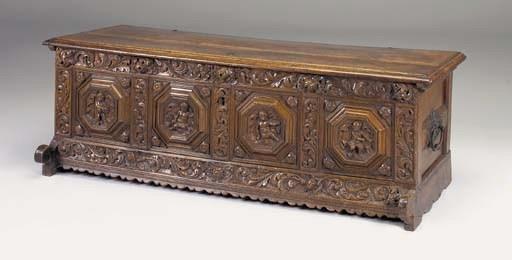 A carved oak chest, Flemish, l