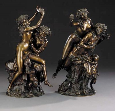 A pair of French bronze Baccha