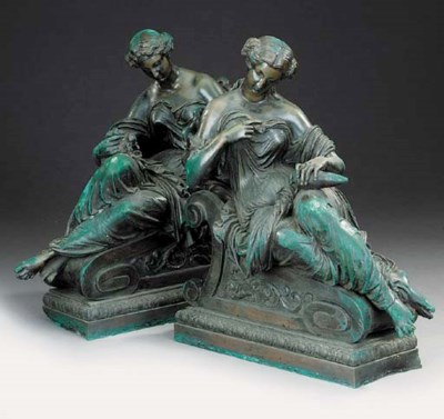 A pair of French bronze chenet