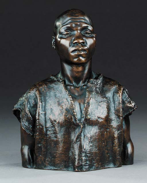 A bronze bust of an African, 2