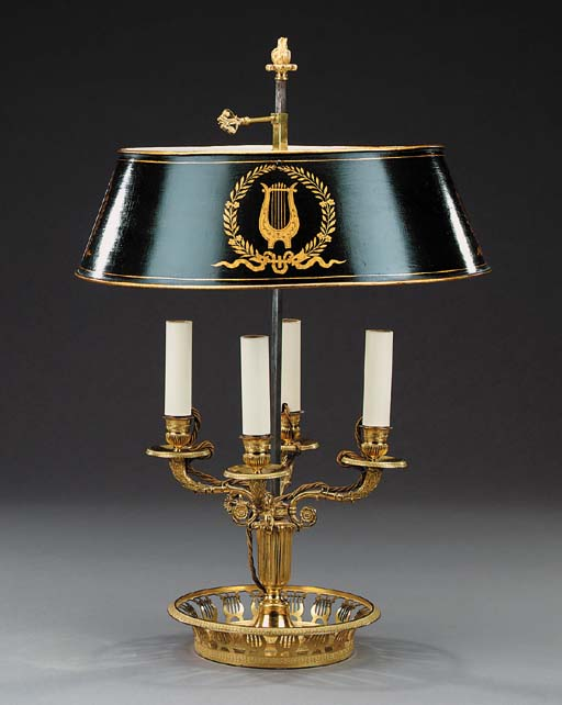 A gilt bronze bouillotte lamp,
