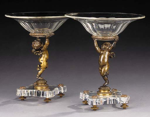 A pair of French bronze and gl