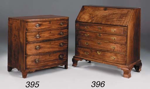 A MAHOGANY BOWFRONT CHEST, EAR