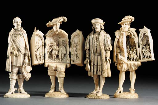Four French carved ivory tript