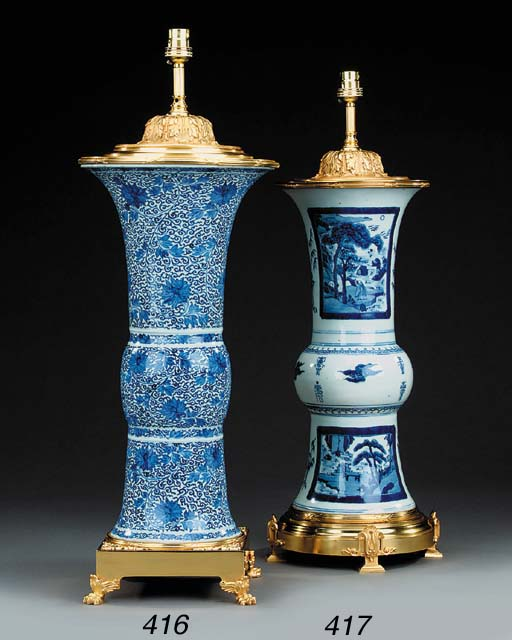 A Chinese Kangxi blue and whit