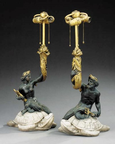 A pair of Continental bronze a