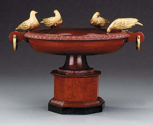A gilt bronze mounted red marb