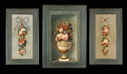 Three polychrome decorative wo
