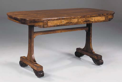 A WILLIAM IV CARVED ROSEWOOD L