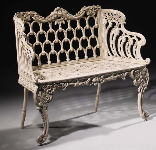 A Scottish cast iron seat, mid