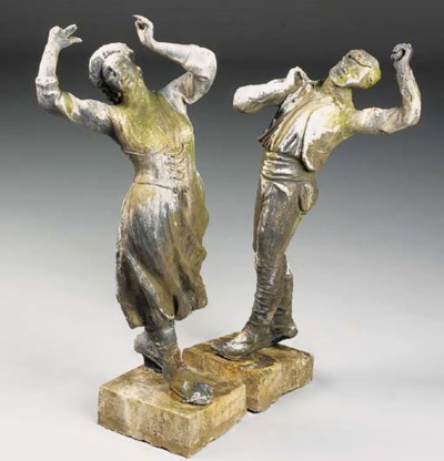 Two lead figures of dancers, l