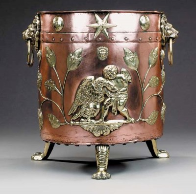 A Continental copper and brass