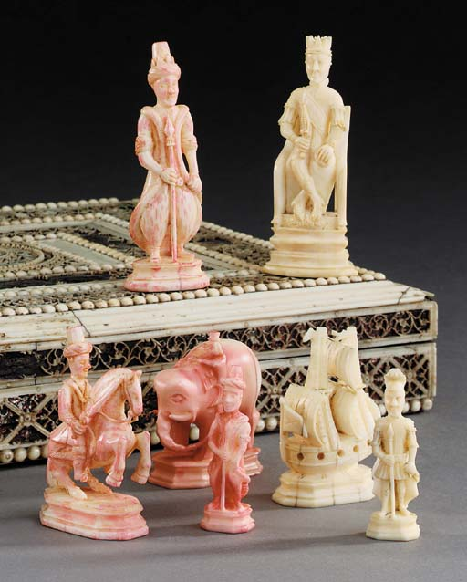 A Kholmogory walrus ivory ches