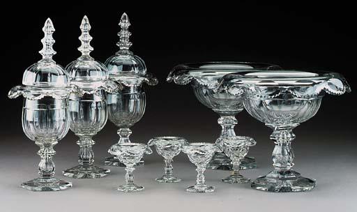A garniture of nine cut glass