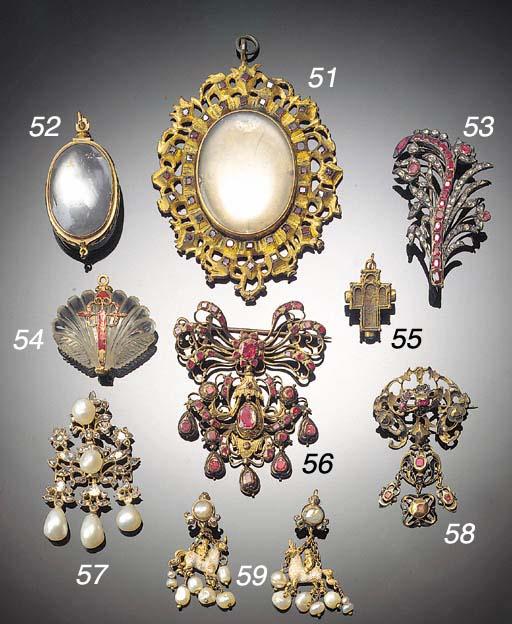 An antique gilt metal and garn