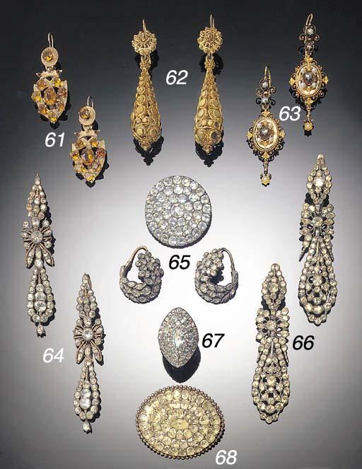 A pair of paste drop earrings,