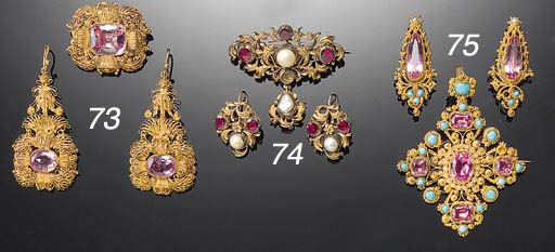 An antique gold, pink topaz, p