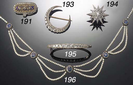 A 19th Century pearl, sapphire