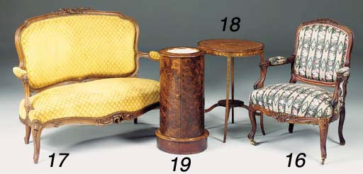 A Victorian burr walnut pedest